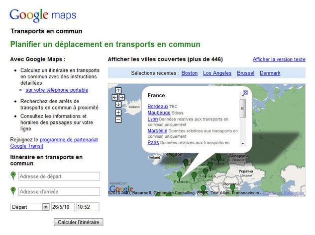 Google Transit : itinéraire des transports en communs