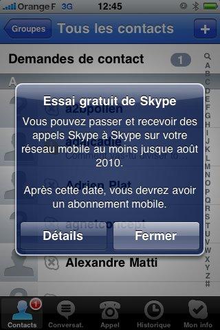 Skype 2.0 pour iPhone autorise les appels via la 3G