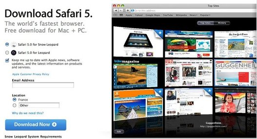Safari 5 est disponible