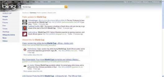Bing propose Twitter et Facebook dans ses résultats