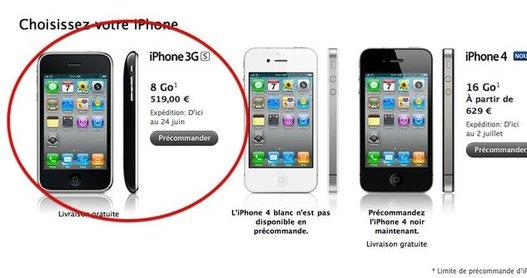 iPhone 3GS 8Go sous iOS4 - Apple veut récupérer tout le marché mobile ?