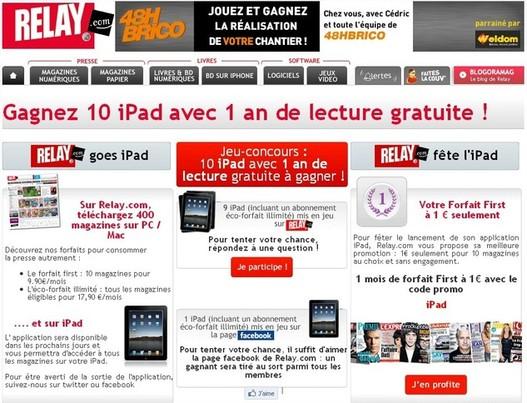 10 iPad à gagner avec Relay