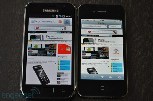 Comparatif d'écran entre iPhone 4 et Galaxy S