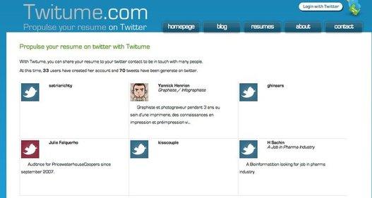 Twitume - Partagez votre CV sur Twitter