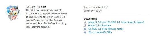 iPhone iOS 4.1 à disposition des développeurs