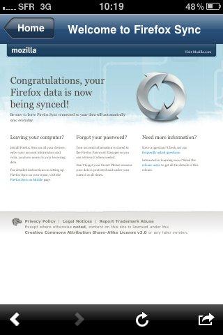 Firefox Home est disponible sur l'AppStore