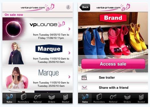 L'application Vente-Privée a générée 515 000€ en 3 semaines