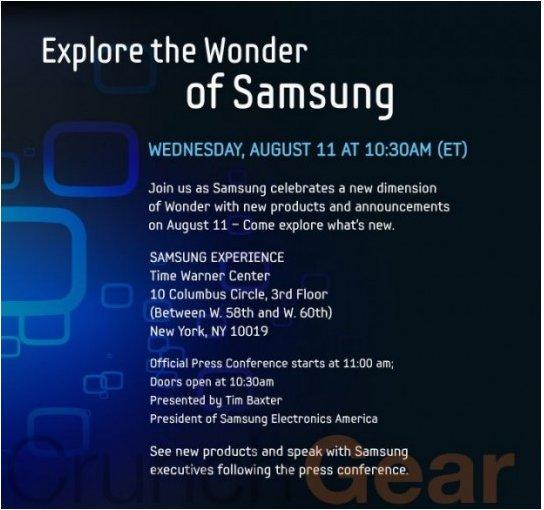La tablette Samsung Galaxy Tab pour le 11 aout ?