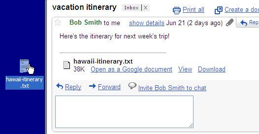 Télécharger un fichier par le glisser/déposer sur Gmail