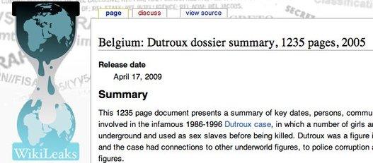 WikiLeaks déballe l'affaire Dutroux
