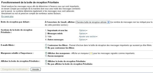 Boite Prioritaire sur Gmail - Les premiers tests