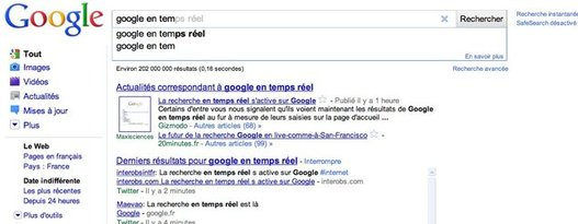 Google Instant - La recherche en temps réel