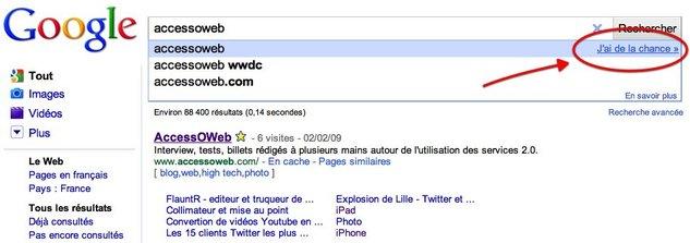 """Google Instant - """" J'ai de la chance """" est toujours là"""
