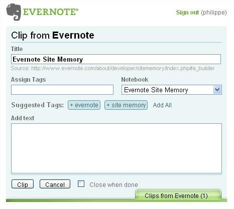 Evernote Site Memory - Capture d'une page Web complète d'un clic