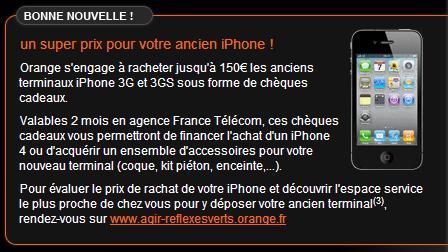 Orange s'engage à reprendre votre ancien iPhone