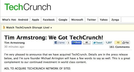 TechCrunch a t achet par AOL