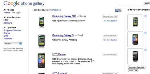 Google Phone Gallery - Comparateur de mobiles Android en ligne