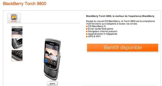 Le Blackberry Torch chez Orange dès le 4 Octobre