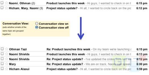 Gmail - Retour de la vue conversation au choix