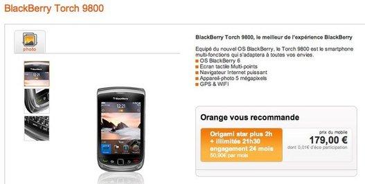 Le Blackberry Torch en vente chez Orange et SFR aujourd'hui