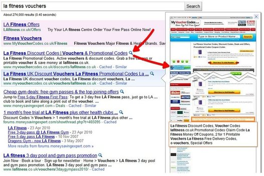 Google - Bientôt la prévisualisation des sites ?