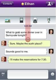 De la voix et de la vidéo pour l'application Yahoo! Messenger sur iPhone
