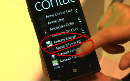 Un contact Apple iPhone sur un Windows Phone 7