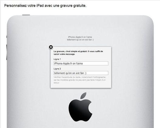 La gravure iPad désormais disponible