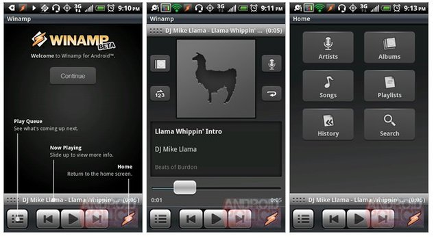 Winamp - une version bêta disponible sur Android