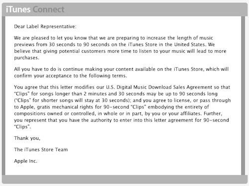 iTunes - Apple rallonge la durée des extraits musicaux