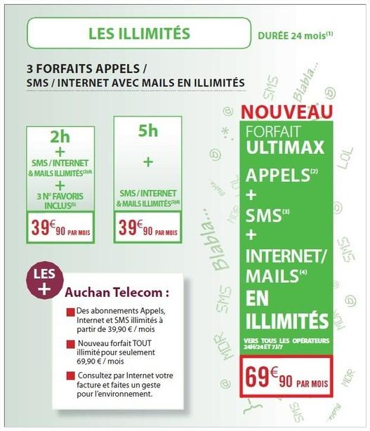 Auchan Telecom explose les prix de téléphonie mobile avec son forfait Ultimax