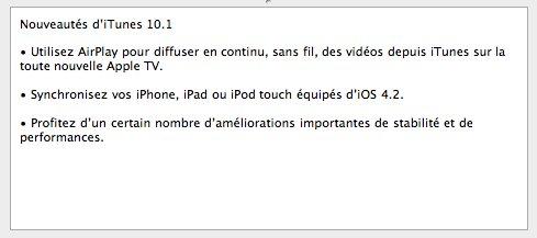 Téléchargez iTunes 10.1 mais pas iOS 4.2