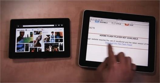 Blackberry Playbook vs iPad en vidéo