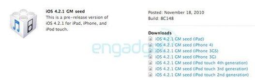 iOS 4.2.1 GM est disponible pour les développeurs