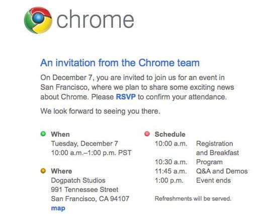 Google Chrome OS pour le 7 décembre 2010 ?
