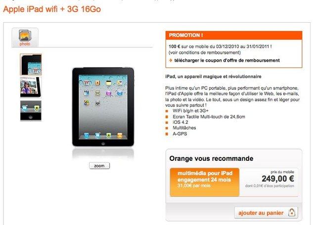 L'iPad disponible pour 149€ chez Orange