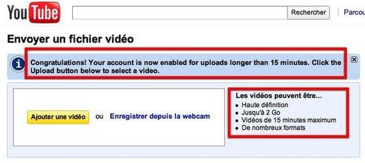 Youtube - Les vidéos passent de 10mn à 15mn