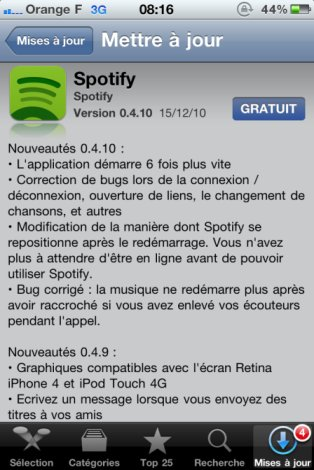Spotify met à jour son application iPhone