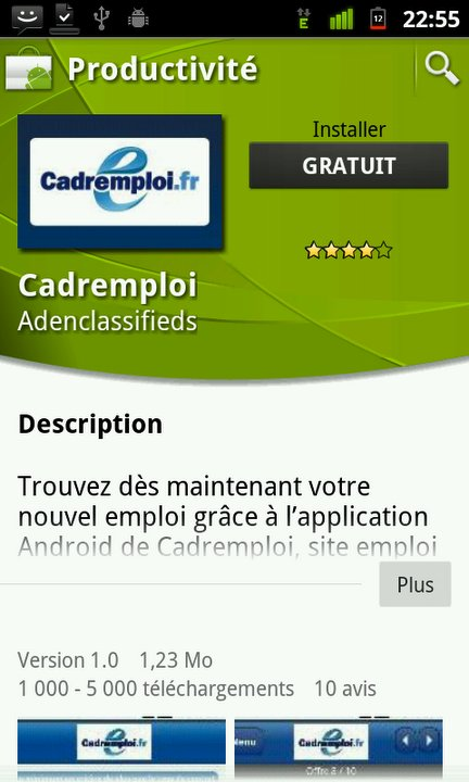 [Billet sponsorisé] Cadremploi posséde maintenant son application Android