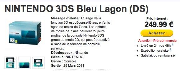 Commander une Nintendo 3DS pour 249,99 €