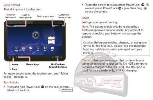 Le manuel utilisateur de la Motorola Xoom leaké