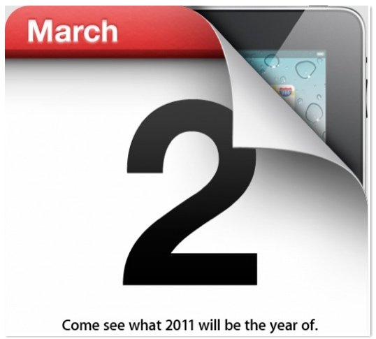 Keynote Apple iPad 2 le mercredi 2 mars 2011 maintenant officielle