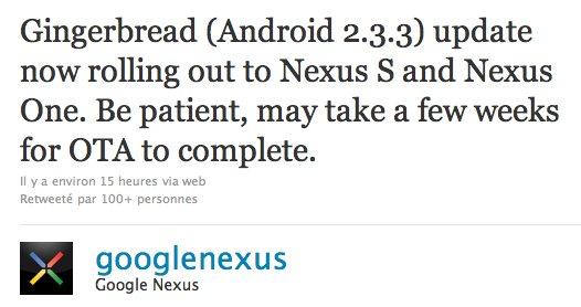 Android 2.3.3 Gingerbread sur Nexus One et Nexus S pour bientôt
