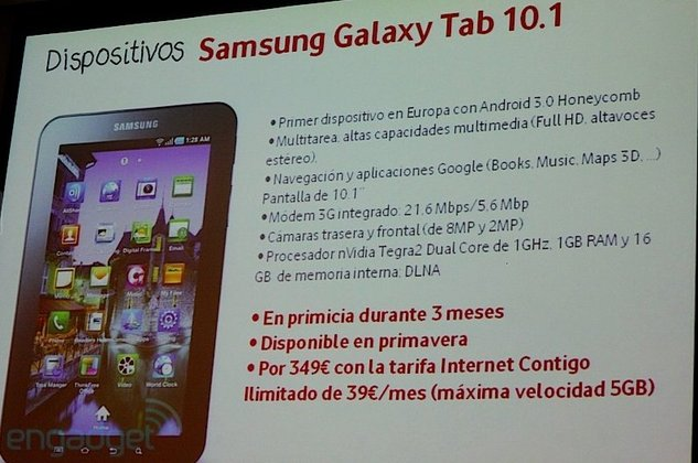Samsung Galaxy Tab 10.1 - Les tarifs Vodafone pour l'Espagne