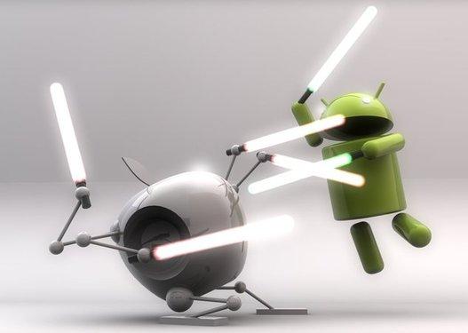 Apple vs Android - Le duel en fond d'écran