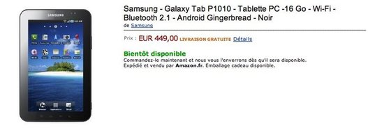 Samsung Galaxy Tab WIFI à 449 € en pré-commande sur Amazon