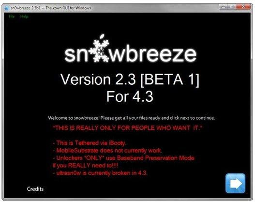 Jailbreak iOS 4.3 avec Sn0wbreeze sous Windows
