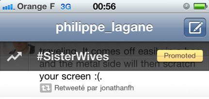 Twitter et les hashtags sponsorisés sur l'iPhone