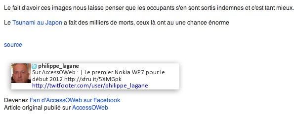 TwitFooter - Votre dernier Tweet inséré en HTML sur Gmail, le flux RSS, etc...