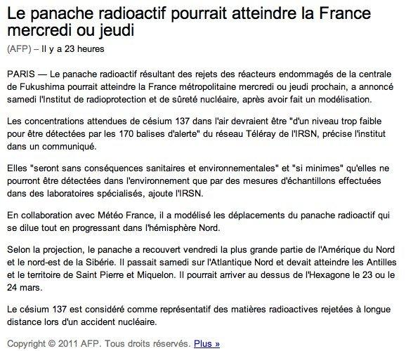 Japon - Le nuage radioactif en France le 23 ou 24 Mars 2011